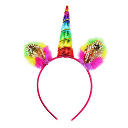 $enCountryForm.capitalKeyWord UK - Lovely Girl Hairbands Decorative Magical Unicorn Horn Head Glitter Party Hair Headband Fancy