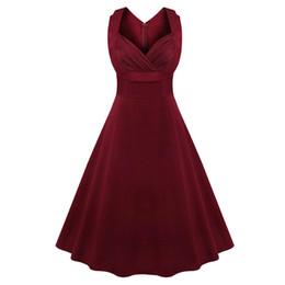 plus size audrey hepburn dress 2019 - Kenancy Women Plus Size S~4XL Cotton Stretchy Vintage Dress Sleeveless Retro Rockabilly Audrey Hepburn Big Hem Feminino