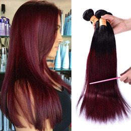 cheap red straight weave human hair UK - Ombre Brazilian Burgundy Virgin Hair 4 Bundles Cheap Straight 1b Burgundy 99j Human Hair Weave Two Tone Colored Red Hair Wefts Extensions