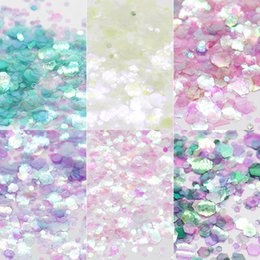 mermaid boxes NZ - Nail Art Glitter Sequins Hexagons Chunky Glitter Mermaid Nail Art Festival Face Body Decal 6 Boxes Decorations
