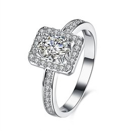 China Luxury Wholesale Jewelry NZ - Real Sterling Silver 925 Ring , Luxury Square Austrian Crystal Ring, Fashion Wedding Rings Silver Jewelry free shipping R105