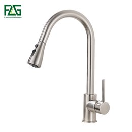 led pull out kitchen taps UK - Kitchen Faucets Brushed Nickel Single Handle Pull Out Kitchen Tap Single Hole Handle Swivel 360 Degree Water Mixer Tap