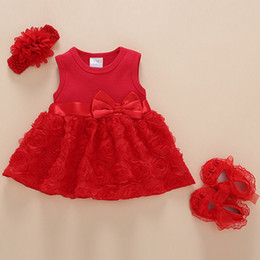 1f00ff472 Baby Party Birthday Princess Outfits Dress Shoes Hairband 3pcs Set Summer  Baby rose Flower Clothing set Girls Lace Cotton Dress set