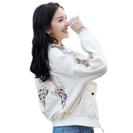 Chinese  Short paragraph loose ladies bomber jacket embroidered jacket Overcoat Ladies Jackets Tops Collar Slim Top For Women High Qualit manufacturers