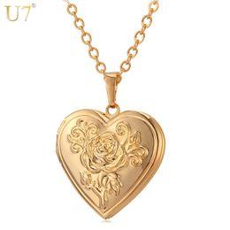 $enCountryForm.capitalKeyWord UK - U7 Photo Frame Memory Locket Pendant Necklace Silver Gold Color Romantic Love Heart Vintage Rose Flower Jewelry Women Gift P326