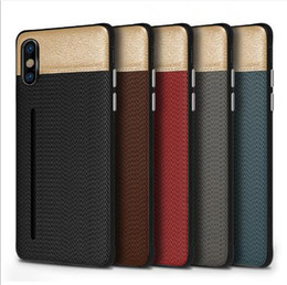 Hard Casing Card Holder Australia - Luxury Fabric Skin Cell Phone Case Credit Card Slots Holder Silicone Hard PC Cases for iphone X 7 8 6 6S plus DHL