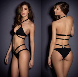 Black string Bikini swimsuit online shopping - Women Sexy Bikini Set Solid Black Bandage Swimsuit Strappy Swimwear Beachwear Mini String Thong Split Girl Bathing Suit