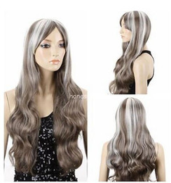$enCountryForm.capitalKeyWord Australia - Free shipping+++Women's Grey White Mixed Long Wavy Curly Hair Cosplay Party Vogue Full Wigs