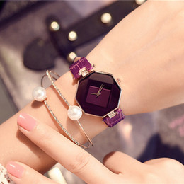 thin leather watch for women NZ - Fashion Watches Women Trendy Chic Rhombus Inlaid Watch Female Bracelets for Women Thin Leather Belt Casual Watch Gift for Girls