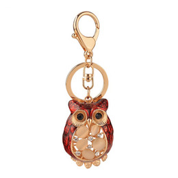 $enCountryForm.capitalKeyWord UK - Hot Creative Animal Design Gold Color Key Rings Chain Holder Brown Enamel with Rhinestone Owl Keychains For Women Purse Bag