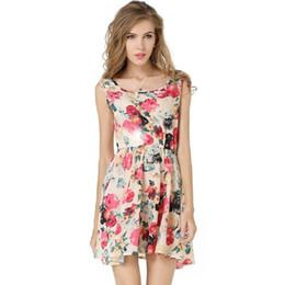 9c45e2669e summer women Chiffon dress girl mini dress flower Print sleeveless female  Sexy Printed slim beach cute clothing Elegant Vintage