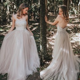 Ivory Colors Wedding Dresses NZ - Sparkly Sequins 2019 Country Wedding Dresses Custom Colors Sweetheart Sleeveless Soft Tulle Long A Line Bridal Gowns Sweep Train