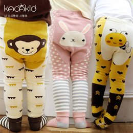 Baby Cotton Winter Tights Pants Canada - Brand Cartoon Printed Leggings Baby Boy Girls Kids Tights + Socks Two-piece Suits Elastic Cotton Pants PP Pants Autumn Clothes
