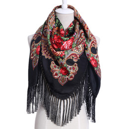 $enCountryForm.capitalKeyWord UK - 2017 New Cotton Printed Pattern Long Tassel Russian Retro Woman Scarf Winter Oversize Square Blankets Bandana Warm Shawl