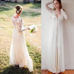 Plus size beach toPs online shopping - A Line Boho Wedding Dresses Long Sleeves V Neck Lace Top Bohemia Bridal Gowns Chiffon Plus Size Wedding Dresses