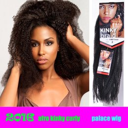 afro kinky bulk braiding hair 2019 - 18inch 22 roots  pack Afro Kinky Twist Braid Curly freetress Synthetic Hair Bulk Extensions Marley Braid Synthetic Braid