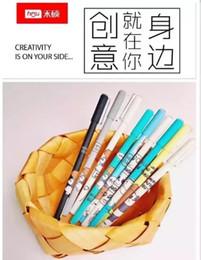 Ingrosso 48 pz Gel Penne Cartone animato famiglia orso nero colorato regalo kawaii penne inchiostro gel per scrivere Carino materiale scolastico per ufficio