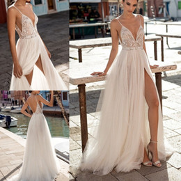 Spaghetti Side Slit lace online shopping - Gali Karten Beach Wedding Dresses Side Split Spaghetti Sexy Illusion Boho A Line Wedding Dresses Pearls Backless Bohemian Bridal Gowns