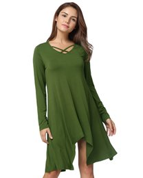 Sexy Army Shirts Australia - Sexy Women Asymmetric T-Shirt Criss Cross V Neck Long Sleeve Long T Shirt Female Solid Loose Casual Tunic Top Black Army Green