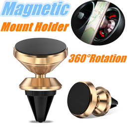 alloy phone NZ - Luxury Aluminum Alloy Car Mount Phone Holder Air Vent Universal Magnetic Phone Holder 360° Rotation Holder for Phone iPhone X 8 Samsung S9