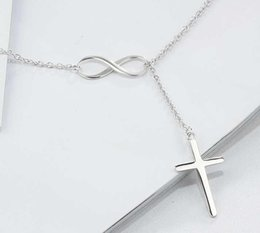 $enCountryForm.capitalKeyWord NZ - 20pcs lot Silver Plated Cross Pendent Infinity Cross Necklace Cross Chain Necklaces For Women