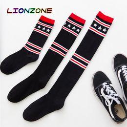 $enCountryForm.capitalKeyWord Australia - LIONZONE 3Pairs lot Harajuku Kawaii Streetwear Long Socks With Striped Stars Black&White Over Knee Crus Ankle 3 Size Women Stocking