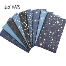 $enCountryForm.capitalKeyWord UK - 40CM*50CM Soft Cotton Denim Fabric Dots Star Foil Patchwork Fabric Material DIY Baby Clothes Skirt Sewing Quilt For Bag