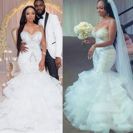 Wholesale 2019 Sexy Mermaid Wedding Dresses Sweetheart Crystal Pearls Beaded Embroidery Ruffled Layered Nigerian Bridal Wedding Gowns