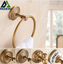 $enCountryForm.capitalKeyWord Australia - Free Shipping Euro Styel Art Carved Bathroom Towel Ring Antique Brass Wall Mounted Round Towel Rack Hanger