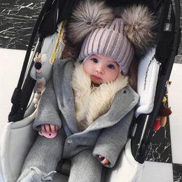 $enCountryForm.capitalKeyWord Australia - Faroonee Dual Ball Baby Boys Girls Toddler Crochet Beanie Caps Hairball Ear Warm Children Hat Cute Knitting Caps Winter 2C0364