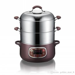 Household Steamers NZ - Multi-function household electric steamer visible facial steamer 2layer food steamer Stainless steel steam tray 8L 1200w