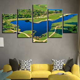 $enCountryForm.capitalKeyWord Australia - Canvas HD Prints Pictures For Living Room Wall Art Framework 5 Pieces Golf Course Beautiful Pool Painting Lake Poster Home Decor