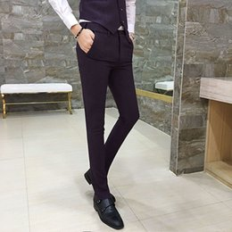 Discount young clothes - 2017 Fashion Trend Gentleman Style Autumn And Winter New Clothes Slim Trousers Young Men Business Suits Pants Casual Sui