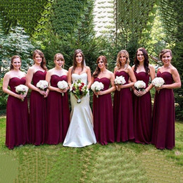 $enCountryForm.capitalKeyWord Australia - Charming Sweetheart Burgundy Chiffon Long Bridesmaid Dresses Custom Made Prom Party Dresses Formal Bride Dresses Plus Size Bridesmaid Gowns