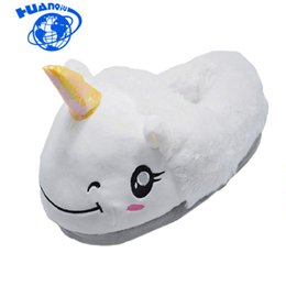 $enCountryForm.capitalKeyWord UK - HUANQIU Unicorn Slippers 2017 Winter lovely Home Slippers Cartoon Plush Chausson Licorne Unisex Family White Shoes Women ST224