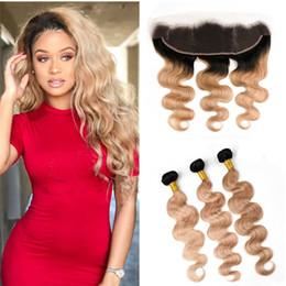 Lace Frontal Bundles Brown Ombre Hair Canada - Honey Blonde Ombre Hair With Lace Frontal 1b 27 Brown Blonde Body Wave Lace Frontal With Bundles Dark Root 27 Bundles Human Hair