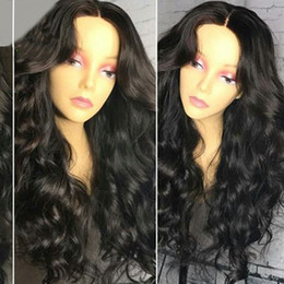 long dark wavy hair NZ - Human Hair Lace Wigs Brazilian Body Wave Hair Full Lace Wig 100% Virgin Long Wavy Glueless Lace Front Wigs For Black Women