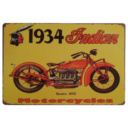 vintage antique metal tin signs UK - Indian Motorcycles Vintage Metal Signs Home Decor Cafe Bar Decoration Pub Decorative Metal Wall Art Plates Tin Sign Retro 20x30cm