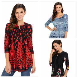 Random long online shopping - Women vintage floral long sleeve patchwork tunic tops loose plus size blouse shirt random colors YYA1264