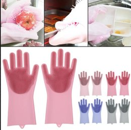 Discount rubber gloves dishwashing - 2pcs pair Magic Cleaning Brush Silicone Glove Resuable Scrubber Washing Gloves Rubber Dishwashing Gloves Kitchen Silicon