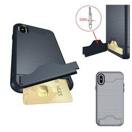 Toptan satış Fırçalanmış Kart Yuvası Kickstand TPU PC Yüksek Kalite Kapak iphone X 8 7 6 6 s Artı Samsung S9 S8 Artı OPPBAG Aicoo