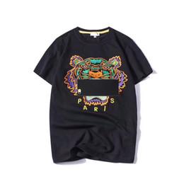 Toptan satış Yaz Tasarımcı T Shirt Mens Tops Kaplan Kafası Mektup Nakış T Gömlek Erkek Giyim Marka Kısa Kollu Tişört Kadın S-2XL Tops