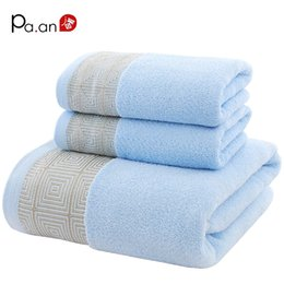 hand embroidered towels 2018 - Blue 3 Piece Cotton Towel Sets Geometric Embroidered Hand Towel Bath Towels Soft Luxury Gift Super Quality Home Textile
