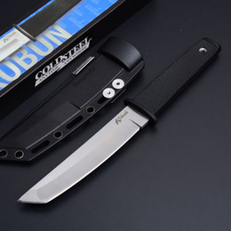 Vente en gros Nouvelle Arrivée Cold Steel 17T KOBUN Survie Stright couteau Tanto Point Satin Blade Utility Lame Fixe Couteau Chasse Outils Livraison gratuite