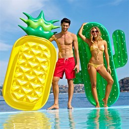 Discount wholesale float ring - Summer Hot Sale Environmental Protection PVC Inflatable Swimming Ring Water Cactus Mounts Floating Row Beach Supplies Ma