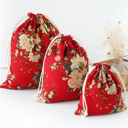 Chinese  1pc Shopping Tea candy key Package Bags Floral Red Peony Drawstring Travel Makeup Pouch Shoes Cotton Storage Bag manufacturers
