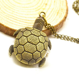 antique turtle necklace Australia - Drop Shipping Retro Bronze Quartz Pocket Watch Turtle Pendant Necklace Watches Women Men Gift Steampunk Jewelry Pocket Clock