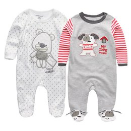 $enCountryForm.capitalKeyWord Australia - 2PCS LOT Baby Girls Boys Clothing Baby Clothes Pajamas Cute Cartoon 100% Cotton Long Sleeve Infant de bebe costumes baby Rompers