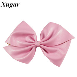 $enCountryForm.capitalKeyWord NZ - 7'' Fashion Big Candy Color Synthetic Leather Hair Bow With Alligator Clip Hair Accessories For Kids Girl