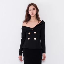 b5dcea21a9c7c3 Fashion Off Shoulder Asymmetrical Collar Blazers Women Slim Black Short Jacket  Coats Sexy Club Party Double Breasted Blazer